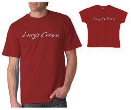 T-Shirt – Lucy's Crown Text Logo on Red